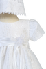 Floral Lace Tulle Overlay Christening Dress w Satin Trim Baby Girls - Chloe