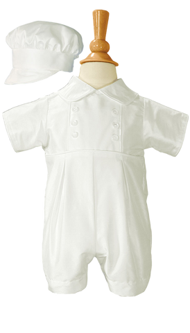 100% Silk Handmade Christening Romper Outfit w Captain Hat (DP31RS)