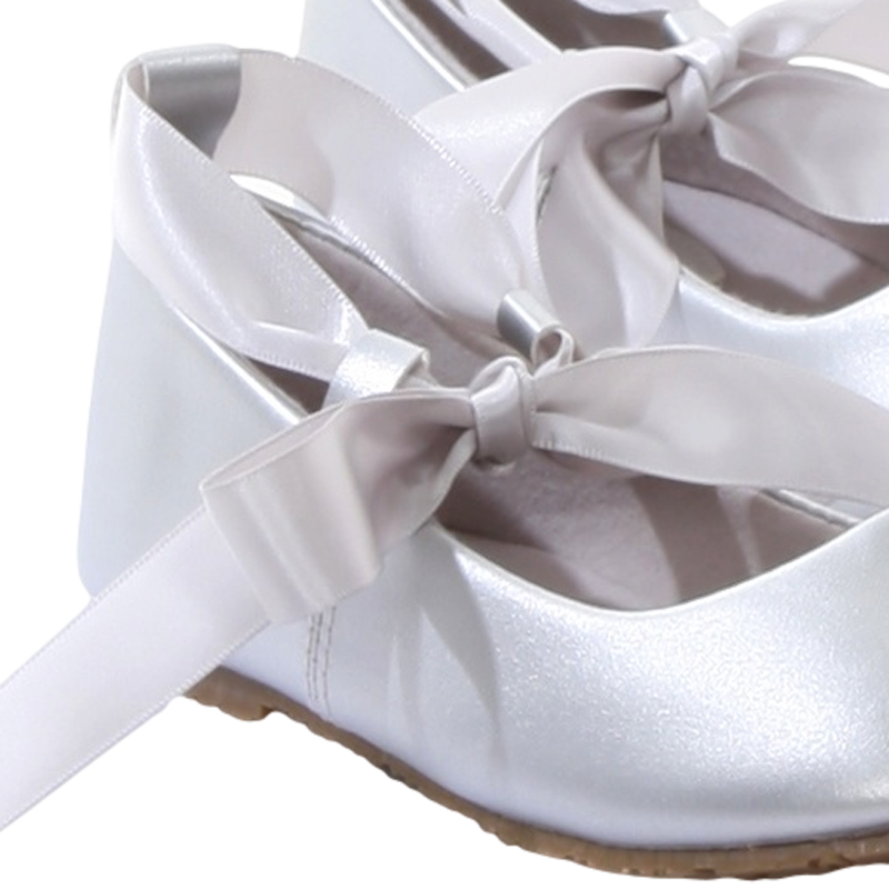 7bd75cf3f95 ... Silver Ballet Flats Girls Dress Shoes with Ribbon Tie (BS004)