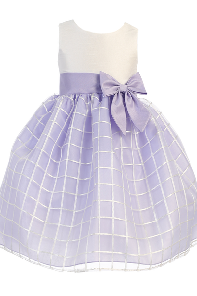 Lilac & Ivory Shantung & Embroidered Organza Girls Easter Spring Dress (M702)