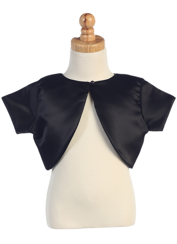 Girls Black Satin Short Sleeve Bolero Jacket with Pearl Button