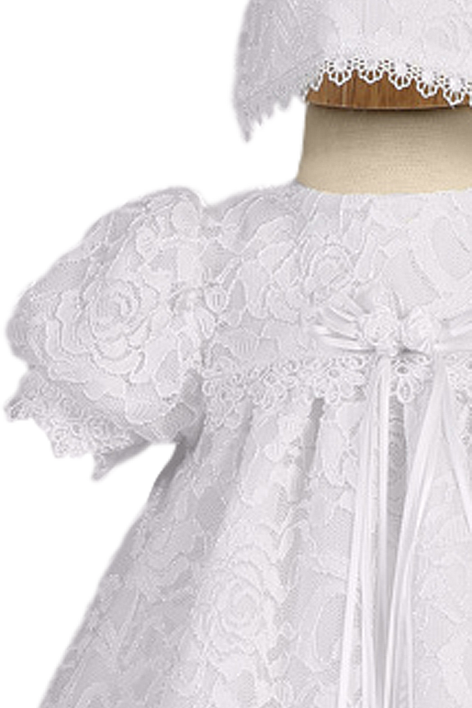 Satin Christening Gown w. Floral Lace Overlay Baby Girls 0-18M ...