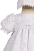 Floral Lace Overlay Satin Christening Gown Baby Girls - Victoria