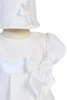 Floral Jacquard Print Christening Dress with Satin Trim Baby Girls - Phoebe