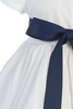 White Cotton Seersucker Spring Easter Dress w Navy Blue Sash & Trim (Baby 3 Months - Girls Size 7)