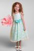 Yellow & Blue Contrasting Color Butterfly Organza Burnout Girls Dress  KD382