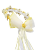 Girls Yellow Floral Crown Head Wreath w. Silk Flowers & Bow  HB007