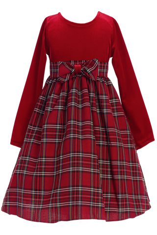 Red Plaid & Stretch Velvet Long Sleeve Girls Christmas Dress 3M-10 Style: C503