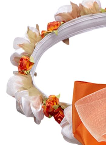Orange Silk Floral Crown Wreath w Satin Back Bows Girls (HB007)