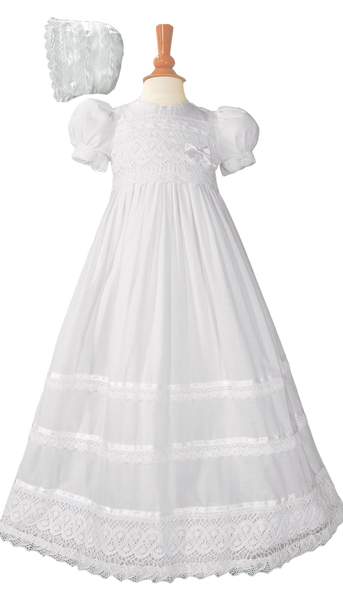 Cluny Lace on Cotton Batiste Handmade Christening Gown (CA25GS)