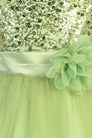 Girls Green Sequin Party Dress w. Lettuce Tulle Hem KD305