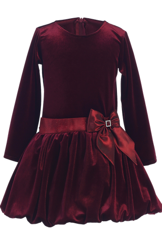 Burgundy Velvet Drop Waist Girls Christmas Holiday Dress w Tucked Hem (C995)