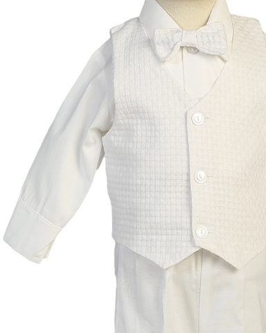 Cotton Weave Vest & Pants Suit 5pc Christening Outfit (Nathan)