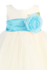 Ivory Tulle & Poly Silk Blossom Flower Girls Dress w Aqua Blue Sash (BL228)