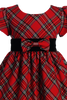 Red & Green Plaid Girls Christmas Holiday Dress with Velvet Trim  (C813)
