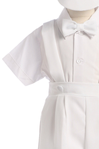 White Suspender Shorts 4 Pc Baby & Toddler Boys Christening Outfit (850C)