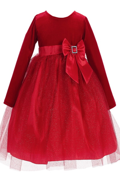 Red Long Sleeve Velvet & Glitter Tulle Girls Holiday Dress  C994