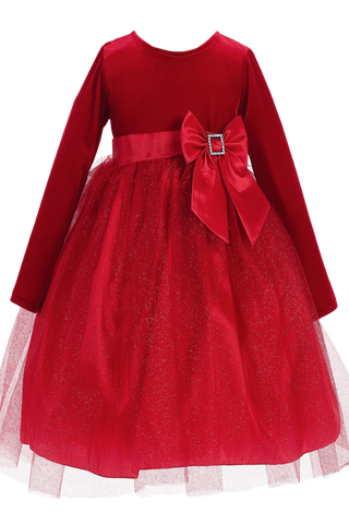 Red Velvet & Glitter Tulle Girls Christmas Holiday Dress (C994)