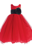 Red Layered Tulle Flower Girl Dress with Custom Sash & Flower  BL228
