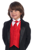 Boys Black One-Button Tuxedo w. Vest & Necktie Color Choice 7510