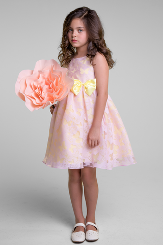 Burnout Butterfly Pink Organza Girls Dress w Yellow Contrast Lining (382)