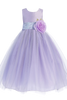 Lilac Polysilk Flower Girl Dress w. Ballerina Tulle Skirt & Custom Sash  BL228