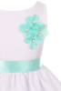Mint Green Dimensional Flowers on White Shantung Girls Dress (204-F)