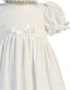 Cotton Christening Gown w Subtle Stripes & Satin Trim (Daphne)