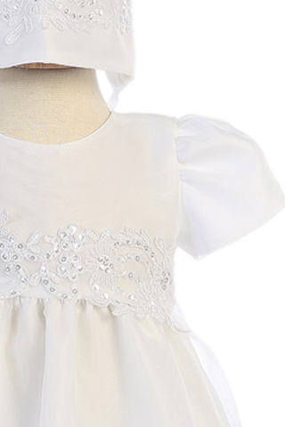 Long Organza Christening Gown w. Floral Lace Cording Baby Girls 0-18M Audrey