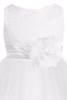 Girls White Sequin Party Dress w. Lettuce Tulle Hem KD305