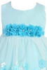 Tulle & Aqua Blue Satin Baby Girls Dress w 3D Flowers (333)