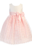 Pink & Ivory Shantung & Embroidered Organza Girls Easter Spring Dress (M702)