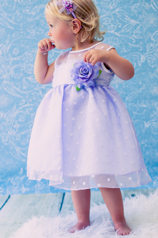 Lilac Satin & Polka Dot Crystal Organza Baby Dress (247)