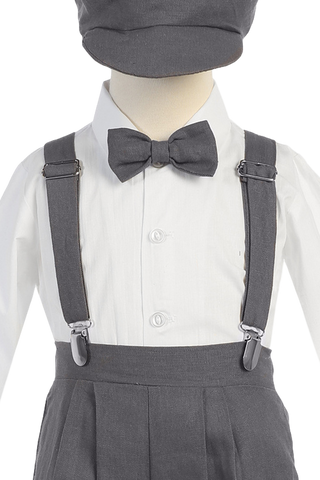 Boys Charcoal Grey Linen Blend Suspender Knicker Shorts Set  G827