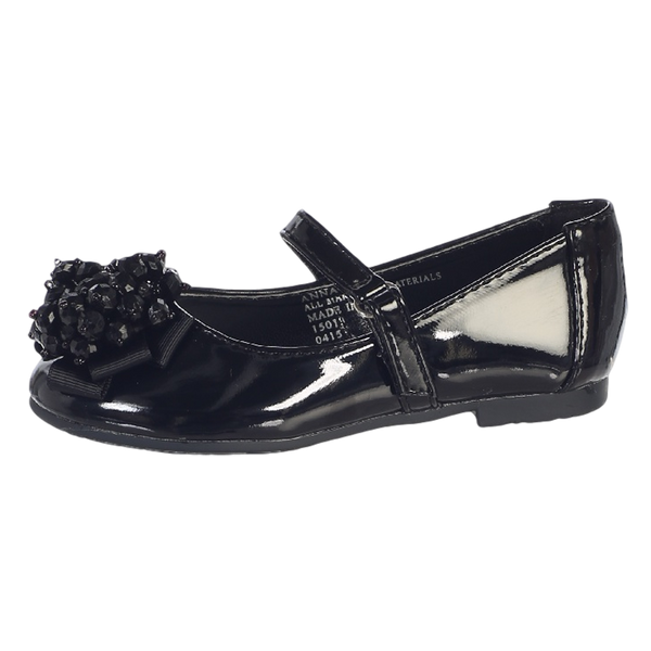 Black Dress Shoes w Crystal Beads & Strap Baby Girls (ANNA)
