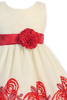 Red Ribbon Flowers on Ivory Tulle Girls Christmas Holiday Dress (C988)