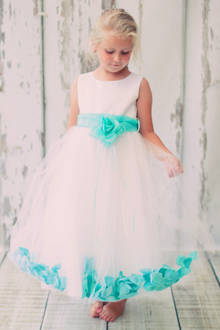 Mint Green Satin & Tulle Flower Petal Dress w Sash (160-SASH)