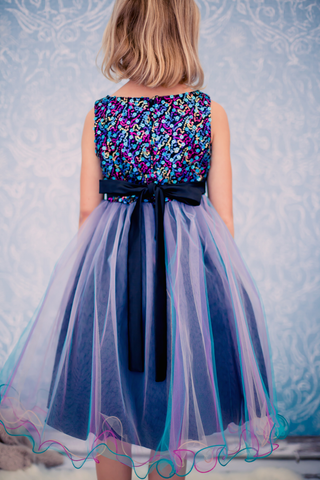 Girls Teal Sequined Party Dress with Colorful Tulle Layers KD327