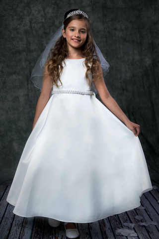 Satin First Holy Communion Gown w Pearl Beaded Waist in White or Ivory (386)