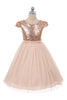 Blush Pink Sequined Girls Plus Size Dress w. Mesh Skirt KD410