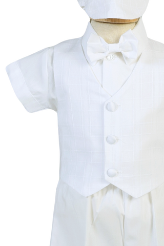 5 Pc Plaid Vest & Shorts Cotton Christening Outfit Boys (LOGAN)