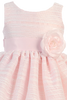 Pink Striped Organza Overlay Girls Easter Spring Dress w Satin Sash (M724)