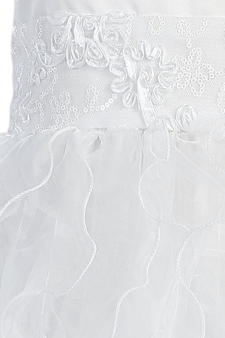 Organza Ruffles & White Satin First Holy Communion Dress (SP128)