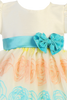 Ivory Organza Overlay Baby & Toddler Easter Spring Dress w Teal Sash (M712)