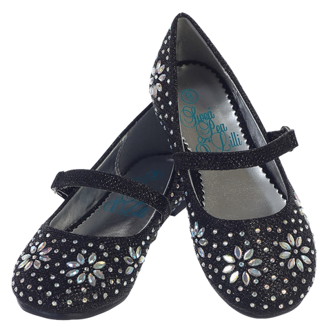 Black Glitter Girls Dress Shoes with Iridescent Beading (Jade)