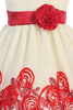 Ivory Tulle & Red Floral Soutache Ribbon Girls Holiday Dress  C988