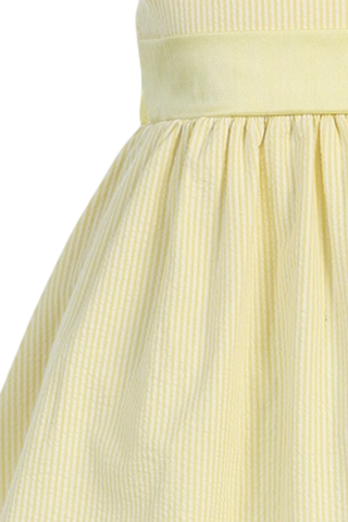 Yellow Cotton Seersucker Dress w PolySilk Sash (Baby 6 months - Girls Size 12)