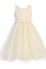 Ivory Satin, Venise Lace & Tulle Overlay Easter Spring Dress Girls (M718)