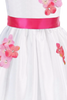 Coral Pink Dimensional Flowers on White Shantung Baby Girls Dress (219-F)