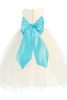 BACK OF WHITE DRESS WITH AQUA SASH (BL228)